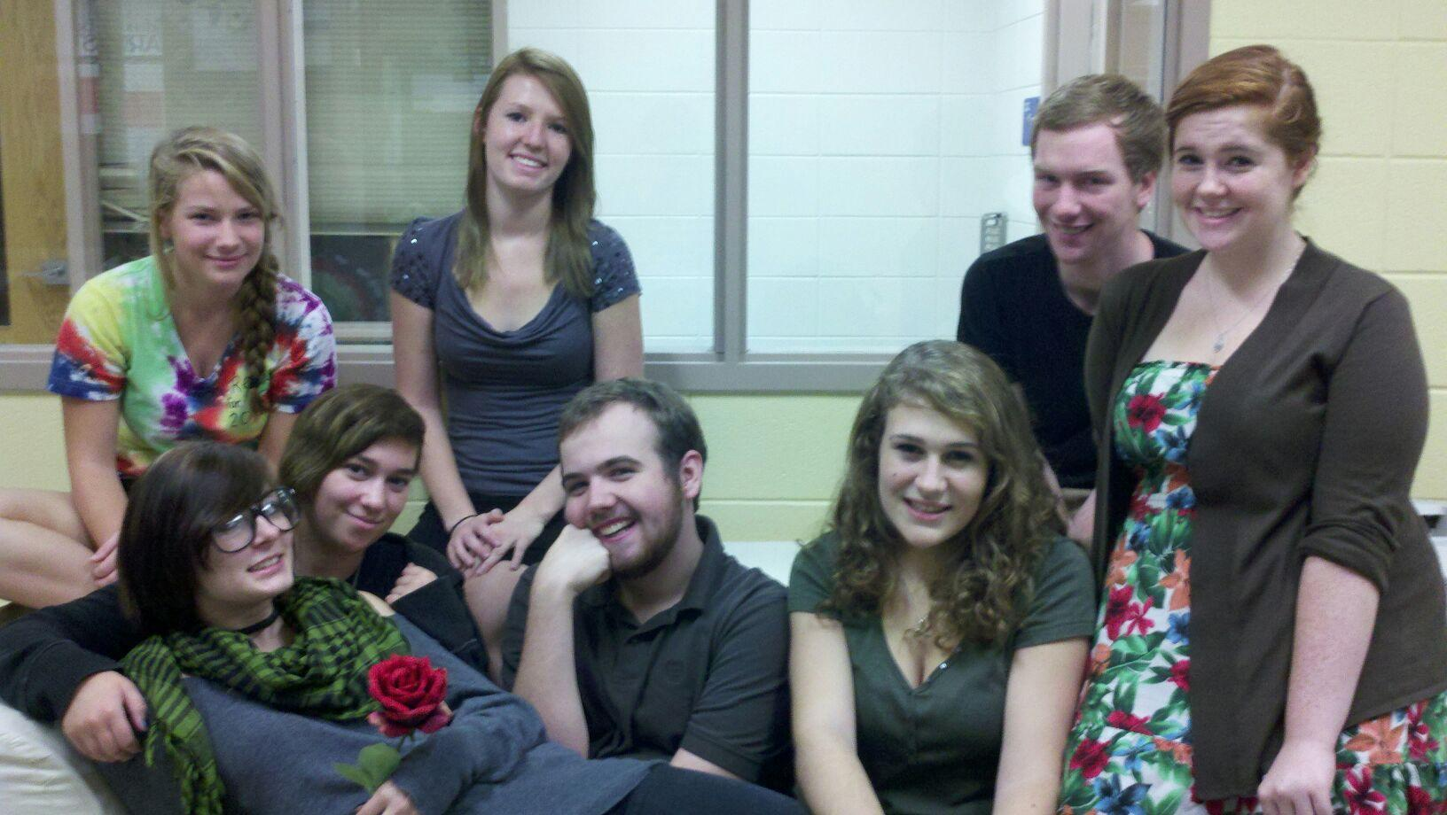 One Act Directors (from left to right) Mallory Turner, Mandy Plummer, Erin Fischer, Brooke Brown, Tim Joyce, Sarah Georgiou, Connor Downes, Cristal Willis